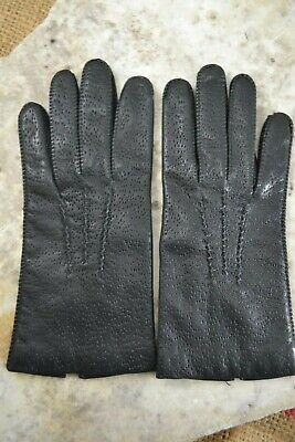 VINTAGE 1960s black pigskin leather gloves size 7 1/2 wool lined