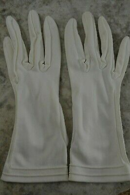 VINTAGE 1960s CORNELIA JAMES white nylon fabric wrist length gloves size 7