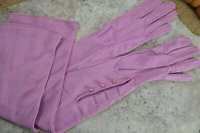 VINTAGE 1960s pink nylon fabric long full length evening gloves 7 with buttons