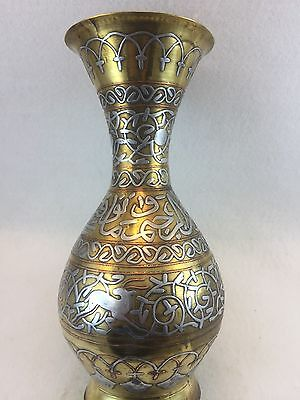 Antique Silver & Copper on Brass Large Cario Ware Vase