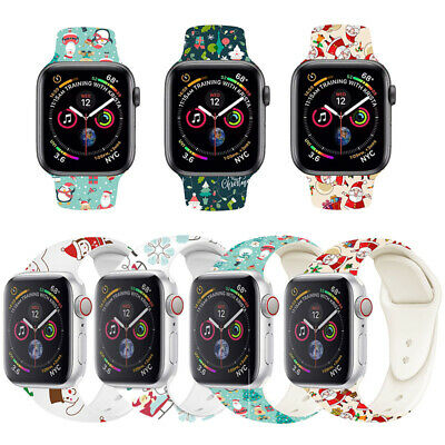 Replacement Christmas silicon Wrist Sport Band Strap For Apple Watch Series 5/4