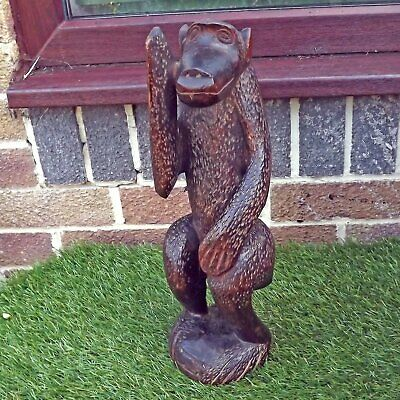 Antique / Vintage Wooden Carved African Monkey - Congo? Wood Carving