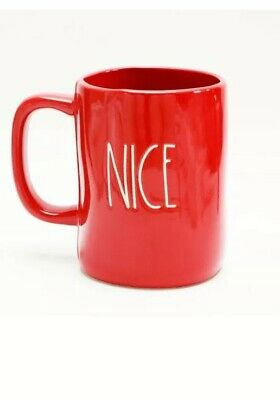 Rae Dunn Christmas By Magenta NAUGHTY NICE Farmhouse Double Side Red Mug