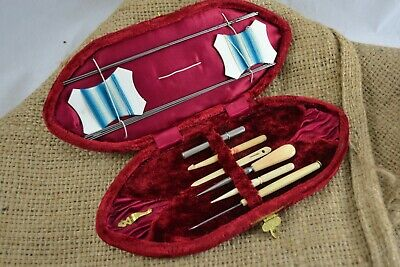 ANTIQUE late Victorian red velvet cased sewing kit bone handled crochet set