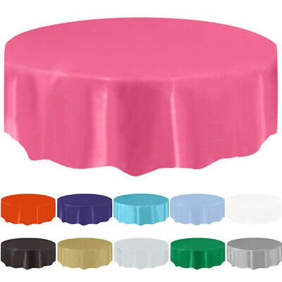 ROUND Plastic TABLECOVERS Table Cloth Cover Catering Events 11 COLOURS