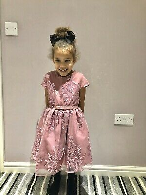 Girls Sparkly Party Dress Christmas Dusky Pink With Belt Age 6