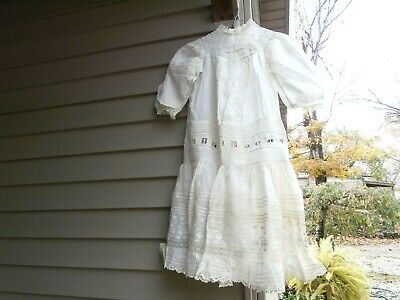 Antique Victorian White Cotton & Lace Girl's Pin Tuck DRESS, Drop Waist  c1910