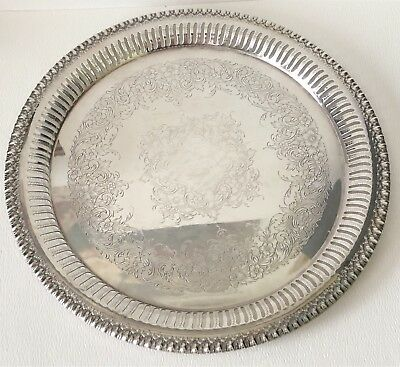 Vtg Webster Wilcox International Silver Plate Brandon Hall 7570 Reticulated Tray