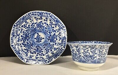 Chinese Antique Kangxi Blue and White Qing Dynasty Cup with Saucer Plate 18th C.