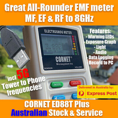 CORNET ED88Tplus Triple Field EMF meter with exposure graph - 5G and electricity