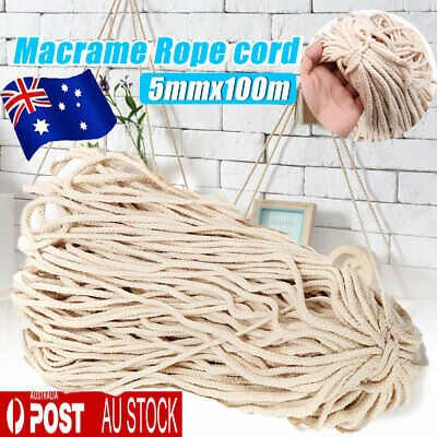 5mm Macrame Rope Natural Beige Cotton Twisted Cord Artisans Hand Craft 100M