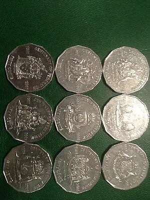 2001 Complete set of Federation 50 cent coins  9 coins