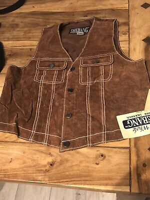 VINTAGE 70's CHILDRENS BROWN SUEDE LEATHER WAISTCOAT DEAD STOCK RETRO AGE 14/16
