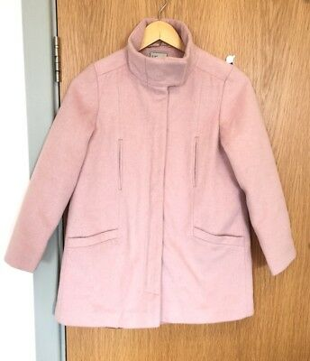 Next Girls 12 Years Old Pink Fur Coat Jacket Butterfly Lining