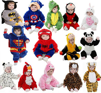 Baby Kid Infant Boys Girls Animal Romper Hooded Jumpsuit Bodysuit Outfit Clothes