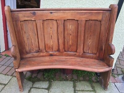 Curved Victorian Pitch Pine Pew (2 Available)