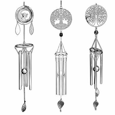 Silver Wind Chime 58cm High Fairies Tree of Life Tree of Peace Metal Nemesis Now