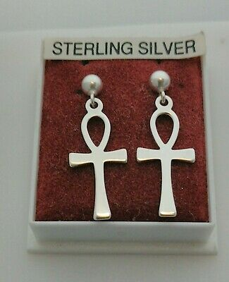 Sterling Silver 925 Ankh ( Symbol Of Life  ) Drop Earrings Butterfly Fastened