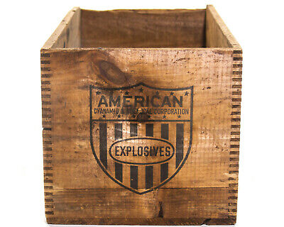 Explosives Box Antique Old Wood Crate American Flag Cyanamid Company Dynamite