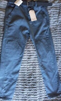 AGE 7-8 YEARS Kids Zara Boys Blue Belted Trousers Jeans NWT