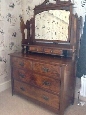 Beautiful Antique Burr Walnut Dressing Table With Mirror