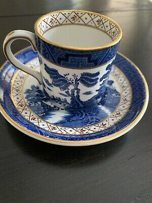 Booths Real Old Willow CUP SAUCER Set A8025  England Blue Willow Royal Doulton