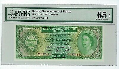 Belize 1 $ 1974  Pmg 65 Gem Uncirculated Epq P.33A Queen Elizabeth Ii