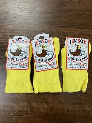 Multipack of 3 Pairs Of Girls Boys yellow socks foot size 6-8.5 New