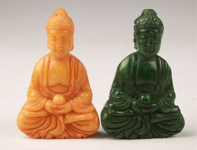 2 Precious China Jade Handmade Carving Buddha Statue Pendant Old Collec