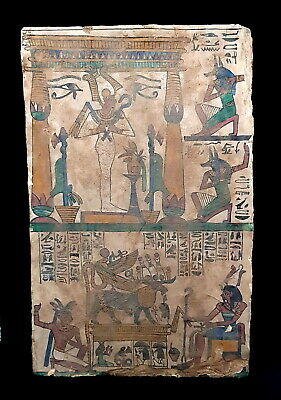 Large Antique Relief Plaque Stela Egyptian Anubis Osiris Wedjet & Hieroglyphics