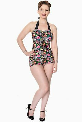 Banned Rare Hearts Sugar Skull Print Swimsuit  - Size XS (UK8)