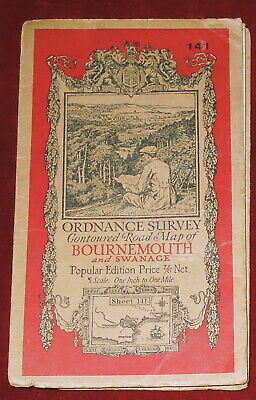 """Ordnance Survey 1"""" Popular Edition Linen Backed Map Of Bournemouth/ Swanage-1931"""