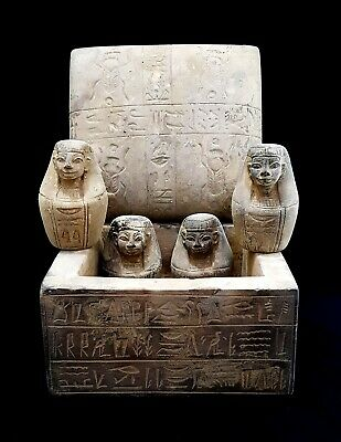 Hieroglyphic Canopic jars Egypt Antique Horus Anubis Sekhmet shabti Mummy Coffin