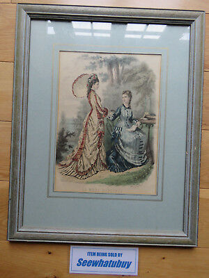 Antique 1876 - LA MODE ILLUSTREE Paris Fashion Plate VICTORIAN LADIES Framed