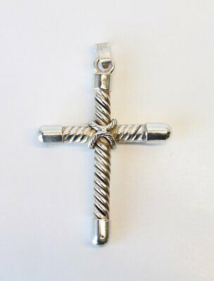 Vintage Taxco Mexico Large Sterling Silver Modernist Cross Pendant 925