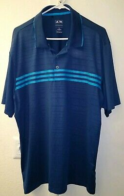 Adidas Puremotion Polo Golf Shirt Men's Size XL Blue  Athletic Striped