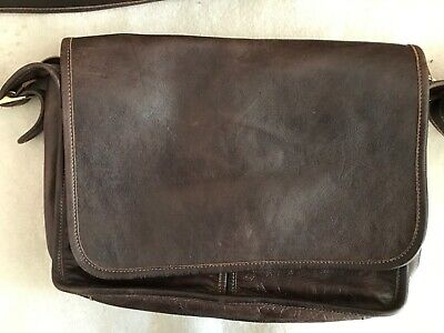Brown Leather Hand-Made Messenger Bag, New Without Tags