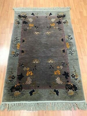 """3'2"""" x 4'10"""" Antique Chinese Art Deco Oriental Rug - 1920s - Hand Made 100% Wool"""