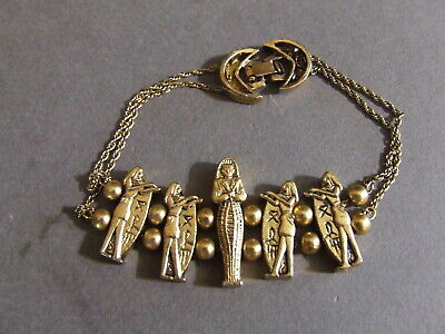 Vintage Gold Tone Egyptian Revival Pharaoh Hieroglyphics Chain Bracelet