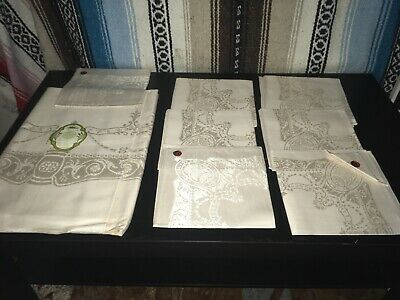 Vintage Antique Cotton Belgium Table Cloth Set Of 8 Napkins Never Used