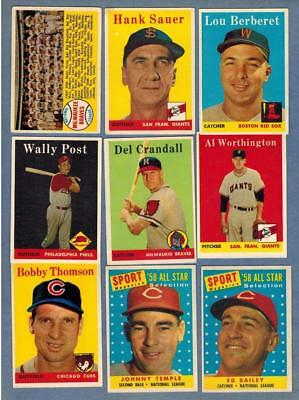 1958 TOPPS  BASEBALL 1-110 PICK YOUR OWN to NRMT COMPLETE YOUR SET!!! EXMT