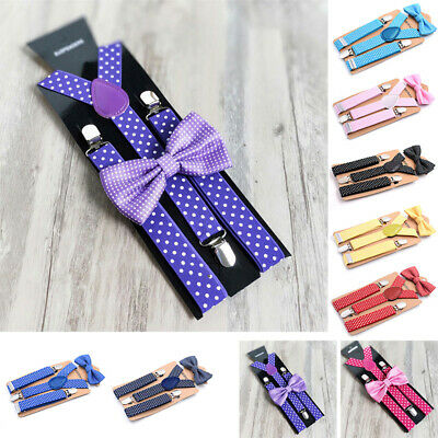 Children Elastic Suspender Polka Dot Clip Strap Casual Wedding Y Back Braces Set