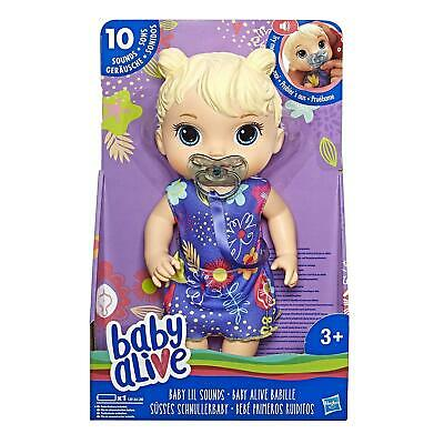 Baby Alive Baby Lil Sounds Interactive Baby Doll Set Blonde Hair And Nipple NEW