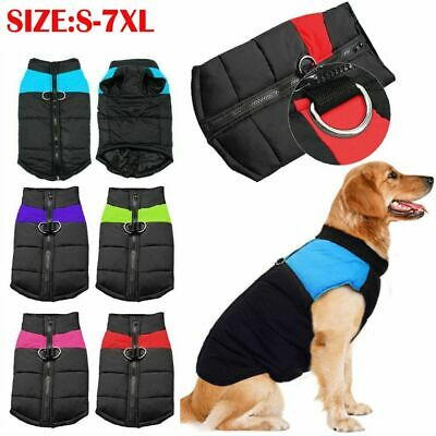 Waterproof Large Dog Clothes Winter Jacket Warm Padded Cat Pet Coat Vest S-7XL