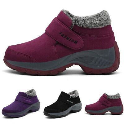 Womens Casual Warm Shoes Non Skid Sneakers Slip On Fur Lined Suede Ankle Boots
