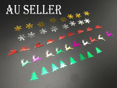 300 x Christmas Sequins Mix Reindeer Christmas Tree Angel Snowflake Cards Making