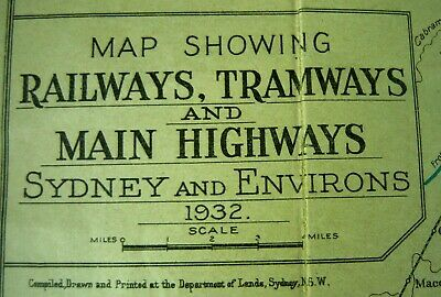 Vintage 1932 Pocket Map & Guide To Sydney & Environs