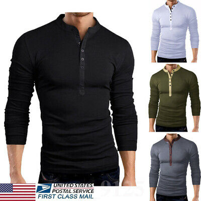 US Men's Slim Fit V Neck Long Sleeve Muscle Tee T-shirt Casual Tops Henley Shirt