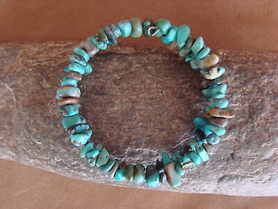 Native Indian Navajo Turquoise Memory Wire Coil Bracelet by Doreen Jake