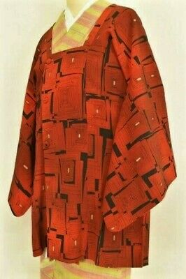 Vintage Japanese Ladies' Black/Red Crepe 'Squares' Michiyuke Kimono Coat L/XL